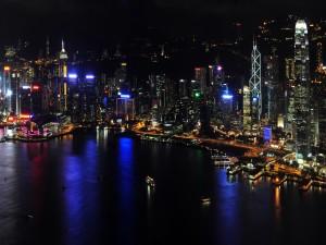 Isla de Hong Kong en la noche