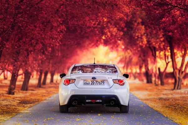 Subaru BRZ blanco en la carretera