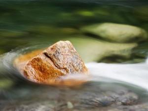 Postal: Piedra en la corriente de agua