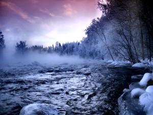 Postal: Bruma sobre el río