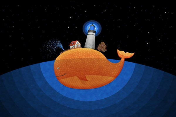 Faro sobre una ballena