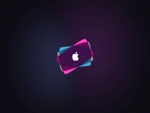 Postal: Colores sobre el logo de Apple