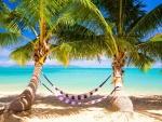 Palmeras y hamacas en una playa tropical