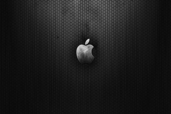 Logo de Apple en un fondo de hexágonos