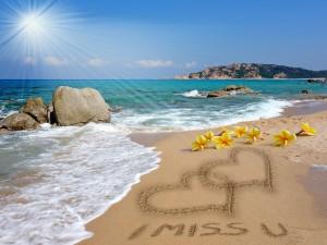 Postal: Romance en la playa