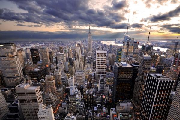Vista de la ciudad al atardecer