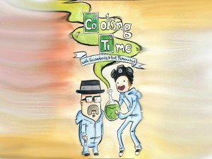"Postal: Dibujo con los personajes de la serie ""Breaking Bad"""