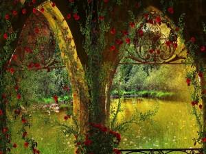 Postal: Flores junto al estanque
