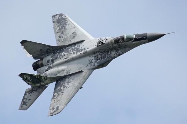 Un avión MiG-29AS de la Fuerza Aérea Eslovaca