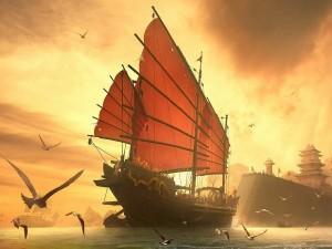 Un gran barco chino llegando a la costa