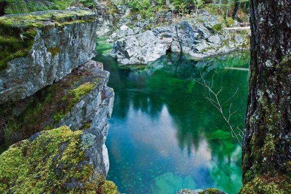 Agua transparente de un río