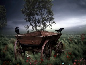 Postal: Dos cuervos posados en un carro