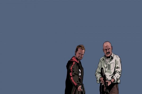"""Dibujo de Jesse y Walter personajes de la serie """"Breaking Bad"""""""