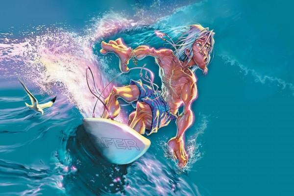 Dibujo de un surfista sobre las olas