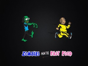 Postal: Los zombies odian la comida rápida