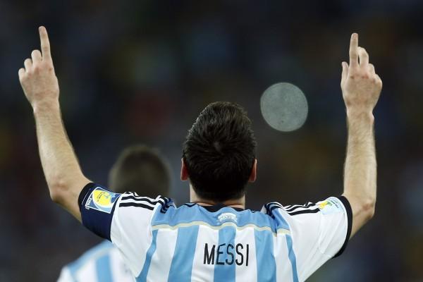Messi festejando tras ganar a Bosnia (Mundial 2014)