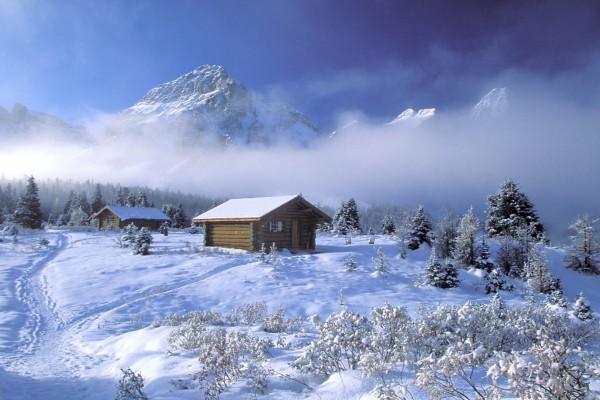 Cabañas en un lugar con mucha nieve