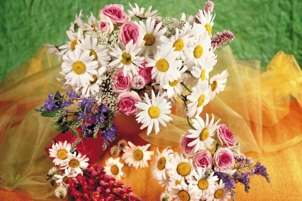Composición floral con margaritas blancas