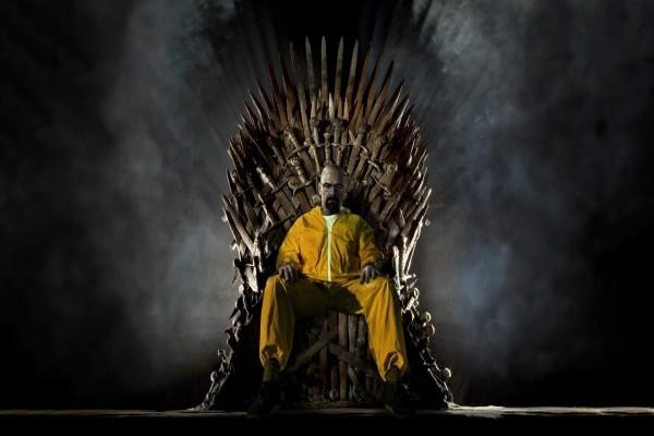 """Walter White de """"Breaking Bad"""" sentado en el trono de hierro de """"Juego de Tronos"""""""