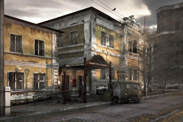 Un cuervo sobre los cables de una ciudad abandonada