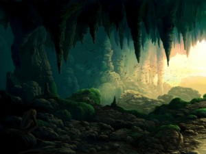 Postal: Un hombre y murciélagos en la cueva