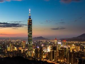 Vista nocturna de Taiwán