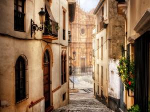 Postal: Catedral y casas de Guadix, España