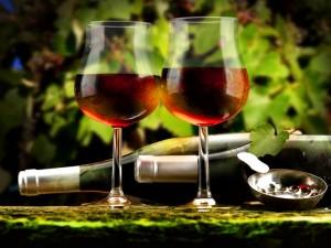 Postal: Dos botellas y dos copas de un excelente vino tinto
