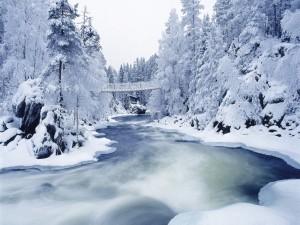 Puente colgante sobre el río nevado