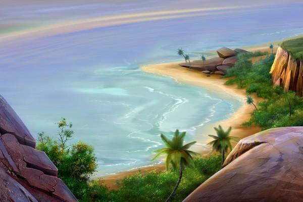 Una bonita playa vista desde las rocas