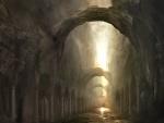 Largo pasillo entre arcos y columnas