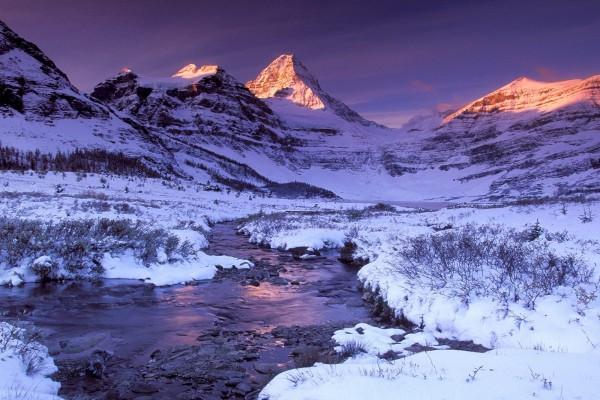 Un riachuelo bajo las montañas