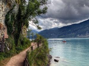 Postal: Sendero junto al lago