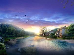 Postal: Casas junto a un río en plena naturaleza