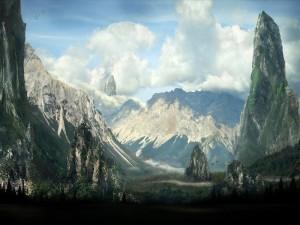 Grandes rocas y montañas