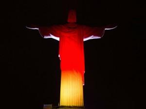 """Postal: Cristo de Corcovado con los colores de Alemania """"Ganador del Mundial Brasil 2014"""""""