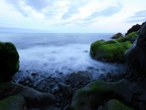 Postal: Grandes rocas con musgo en la costa
