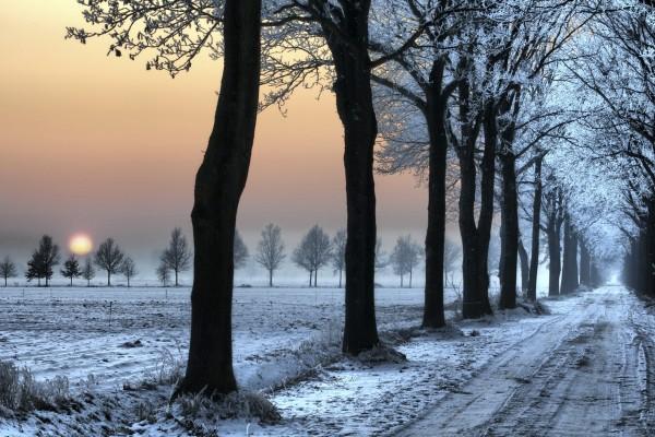 Un bonito paisaje nevado al atardecer