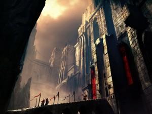 Postal: Soldados ante la puerta de un gran castillo