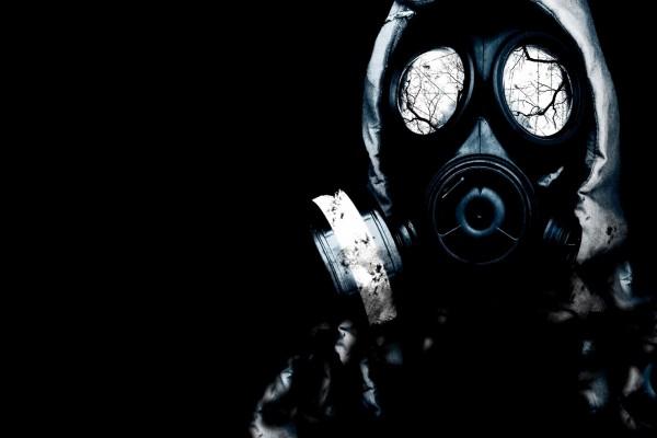Ramas en los cristales de la máscara de gas