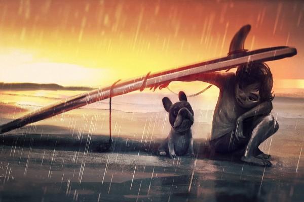 Niño y su perro bajo la tabla de surf para resguardarse de la lluvia