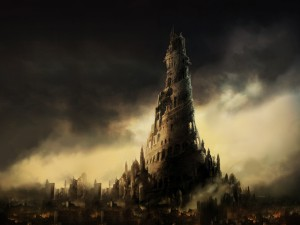 Gran torre en una ciudad en llamas