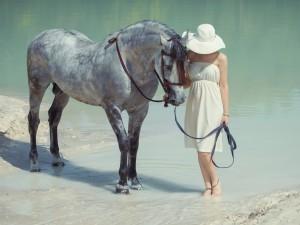 Una mujer al lado de un elegante caballo