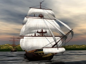 Postal: Fabulosos barcos de vela en el mar