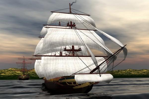 Fabulosos barcos de vela en el mar