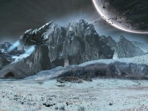 Postal: Nave sobre la superficie de un planeta