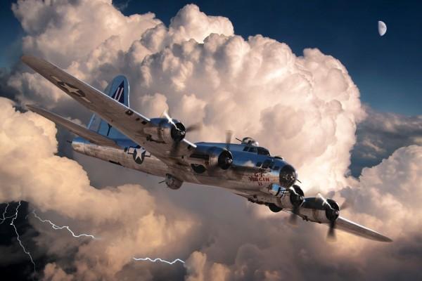 Avións B-17G volando entre nubes y tormentas eléctricas