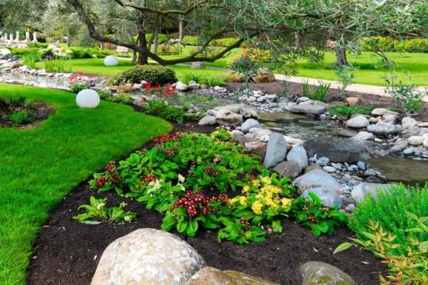 Magnífico parque con un arroyito, piedras, primulas y arbustos