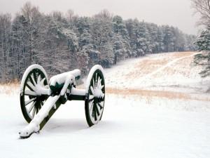Carro en un campo cubierto de nieve