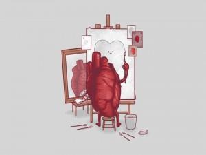 Postal: Un corazón pintor
